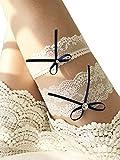 YuRong Wedding Lace Garter Set Rhinestone Bridal Bow Garter Set G37 (Navy)