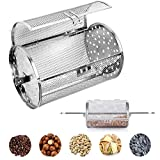Carejoy Stainless Steel Oven Roast Basket, Universal Rotary BBQ Grill Round Drum Roasted Cage for Beans, Peanuts, Coffee, ect