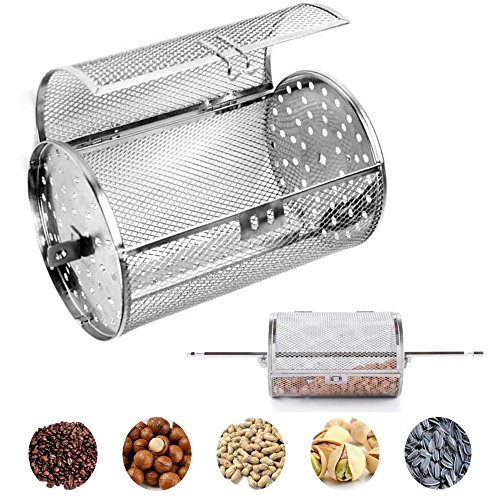 Carejoy Stainless Steel Oven Roast Basket, Universal Rotary BBQ Grill Round Drum Roasted Cage for Beans, Peanuts, Coffee, ect by Carejoy