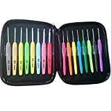 ZXUY Crochet Hook Set 16pc Aluminum Hooks with Colorful Plastic Handles Knitting Needles Weave Yarn Case Set Best Gifts for Her