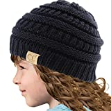 Kids CC Ages 2-7 Warm Chunky Thick Stretchy Knit Slouch Beanie Skull Hat Navy