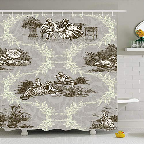 Ahawoso Shower Curtain 72x78 Inches Costume French Pattern Genre Scenes Garden Dark Drawing Abstract Toile Jouy Old Vintage Aged Ancient Waterproof Polyester Fabric Bathroom Curtains Set with -