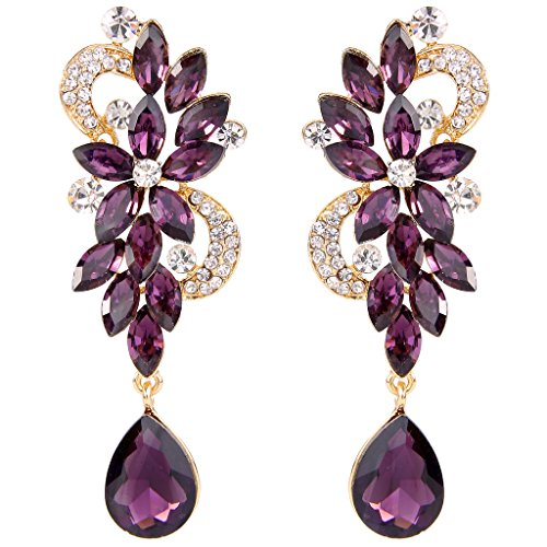 BriLove Women's Bohemian Boho Crystal Flower Wedding Chandelier Teardrop Pierced Dangle Earrings Amethyst Color Gold-Tone (Cluster Teardrop Earrings)
