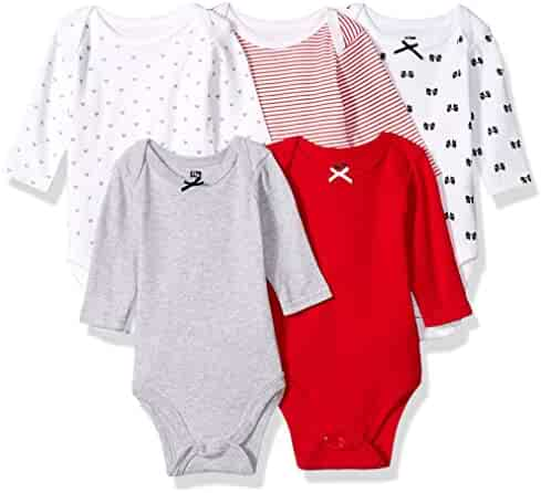 Hudson Baby Long Sleeve Bodysuits, 5 Pack