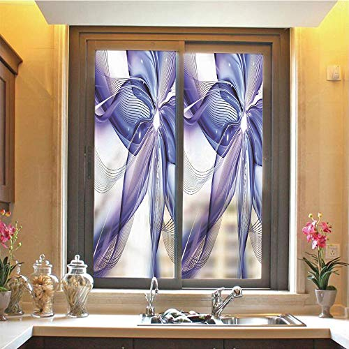 """Abstract Decor 3D No Glue Static Decorative Privacy Window Films, Geometrical Smoke Like Striped Huge Flower Floral Design Artwork,17.7""""x48"""",for Home & Office Decor,Blue White and Purple"""
