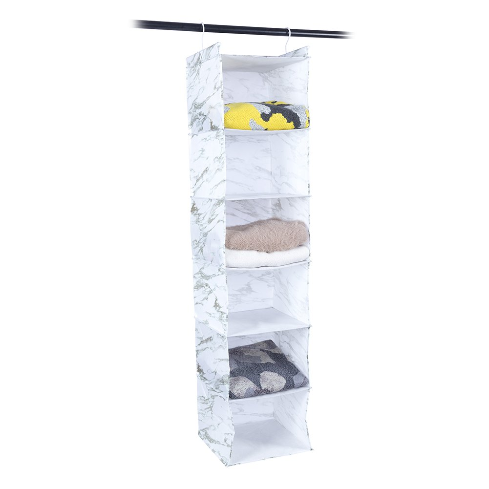 MustQ 6-Shelf Hanging Closet Organizer,Beige (White)