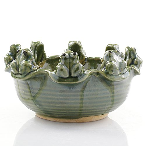 NW Wholesaler - Green Ceramic 8 Frogs Sitting on Edge Planter Pot