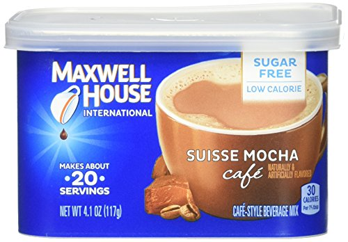 Maxwell House International Cafe Suisse Mocha Sugar Free Instant Ground Coffee (4.1 oz Canisters, Pack of 4) (Stocks That Always Go Up In December)