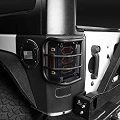Features: 1.Protect and upgrade the look of your Jeep with a set of Hooke Road Euro Taillight Guards.  2.Each Rear Euro Taillight Guard is easy to install with no drilling required.  3.Keep the metal Euro Guard off the taillight, preventing s...