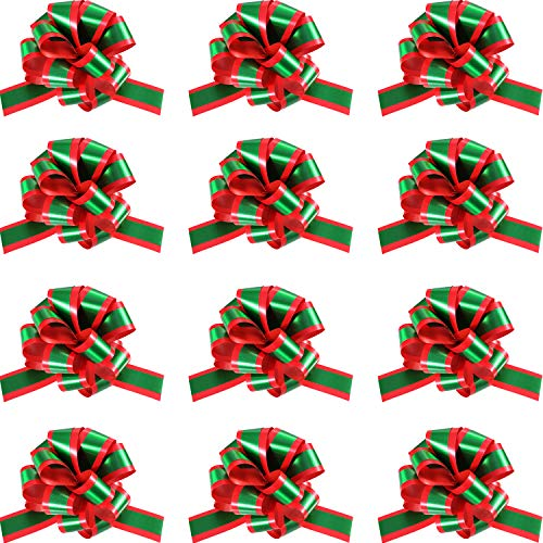 Gejoy 12 Pieces 5 inch Pull Bows Gift Christmas Red Green Pull Bow with Tails Gift Ribbon Strings for Gift Tie Wrap