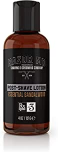 Razor MD Post Shave Lotion, Essential Sandalwood (4 fl. Oz) - Shaving Tools & Accessories for The Modern Man