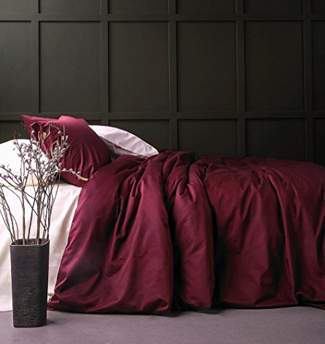 Solid Color Egyptian Cotton Duvet Cover Luxury Bedding Set High Thread Count Long Staple Sateen Weave Silky Soft Breathable Pima Quality Bed Linen (Queen, Burgundy (Burgundy Bedding)