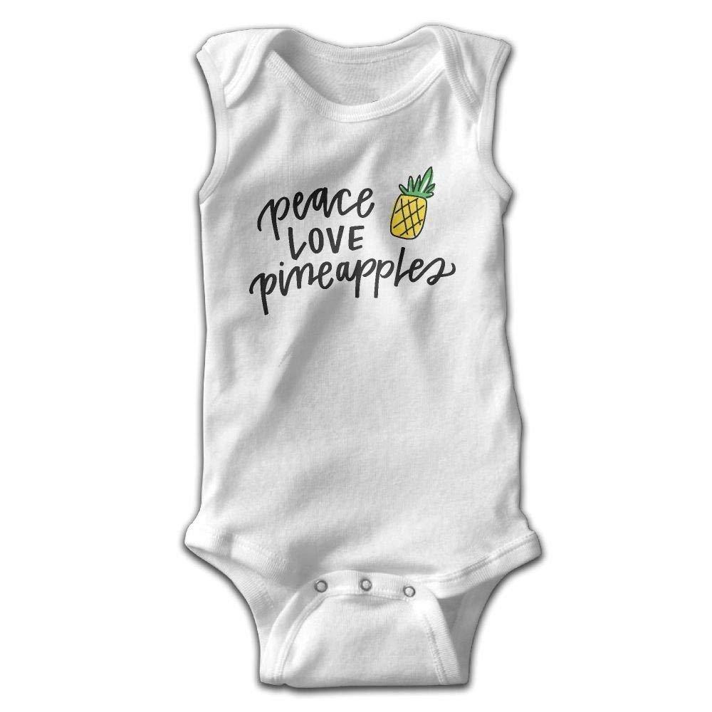 Pineapples Baby Newborn Crawling Suit Sleeveless Onesie Romper Jumpsuit White Love Peace