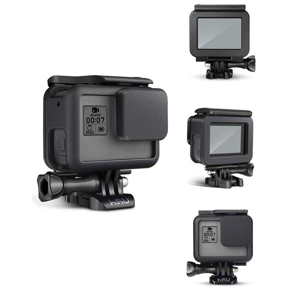 HSU Frame Mount Housing Case for GoPro Hero 5 6 7 Hero 2018 Hero5 Hero6 Hero7 Black Camera - Protective Case with Quick Release Buckle, Long Thumb ...