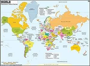 Mapa del mundo con nombres de países en nativo (91 cm W x