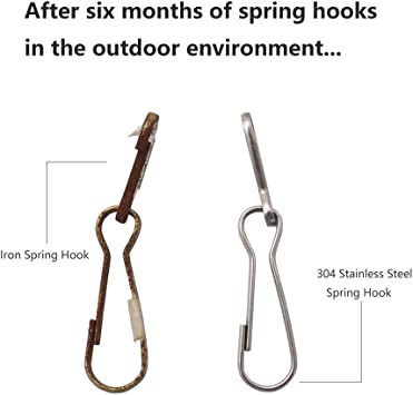 32mm Key Chain 1.26 inch Rust-Proof Metal Hook for Purse 100 Pcs ID Card 304 Stainless Steel Spring Hooks Lanyard Snap Clip Hooks
