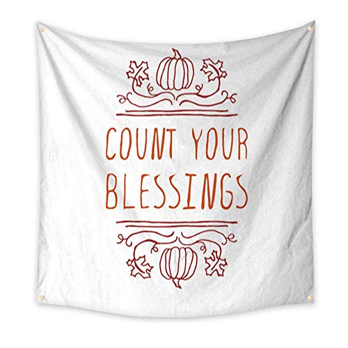 Anniutwo Tapestry Beach Count Your Blessings Typographic Element Blanket Home Room Wall Decor 32W x 32L Inch -