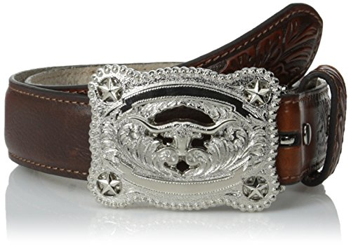Nocona Boy's Longhorn Stars Buckle Belt, Brown, 26