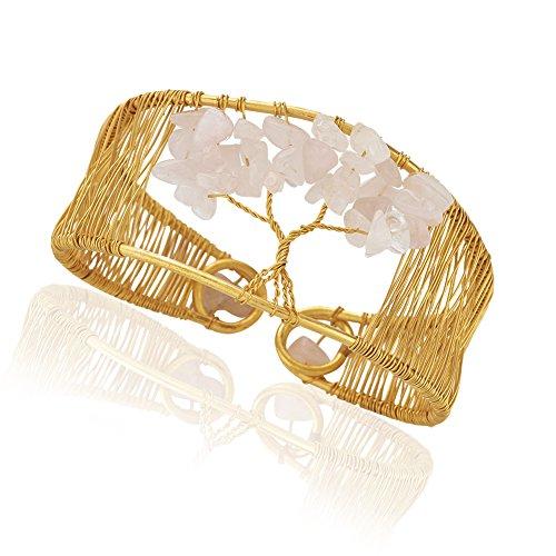 Chuvora Handmade Gold-Plated Tree of Life Gemstone Adjustable Cuff Bracelet