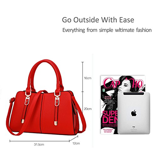 NICOLE&DORIS Bolsos de mujer con estilo bolso de hombro bolso de hombro bolsa de trabajo casual bolsa de tela impermeable negro rojo