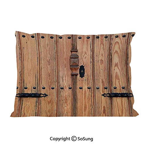 Rustic Bed Pillow Case/Shams Set of 2,Wooden Door with Iron Style Padlock Gate Exit Enclosed Space of Building Picture Decorative Queen Size Without Insert (2 Pack Pillowcase 30