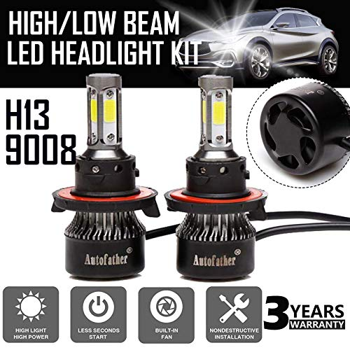 H13/9008 LED Headlight Bulbs All-in-One Conversion Kit Plug and Play, 240W 24000LM 6000K Cool White 4-side of LED COB Chips High or Low Beam Fog light IP67 Waterproof, 3 Year - Bulbs 240w