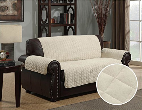 Quilted Micro Suede Pet Dog Couch Sofa Furniture Protector Cover, Kashi, 5 Colors, 3 Sizes (Love Seat, Beige), 88