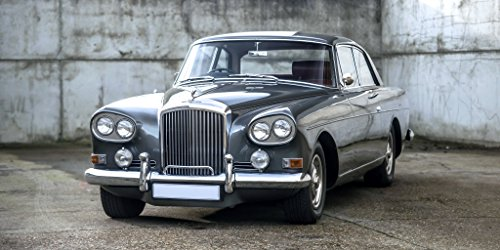 - Bentley S3 Continental Coupe by Mulliner Park Ward UK Spec (1964-1965) Car Print on 10 Mil Archival Satin Paper Silver Gray Front Side Static View 16