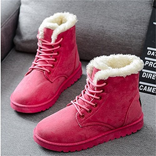 Warm up Fur Boots Xianshu Womens Ankle Lined Shoes Red Lace Snow nFfqpgYpHx