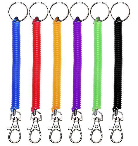 Mini Skater 6Pcs Spiral Retractable Spring Coil Keychain Theftproof Anti-Lost Stretch Cord Safety Key Ring with Metal Lobster Clasp for Keys Wallet Cellphone and Other Important Item,6 ()