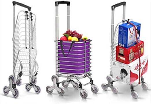 Carro de compras plegable, Escalera móvil para escaleras Escalera portátil Carro con ruedas de cristal triangular, Bolsa de lona impermeable, Bolsa de almacenamiento de cuerda de equipaje con gancho: Amazon.es: Hogar
