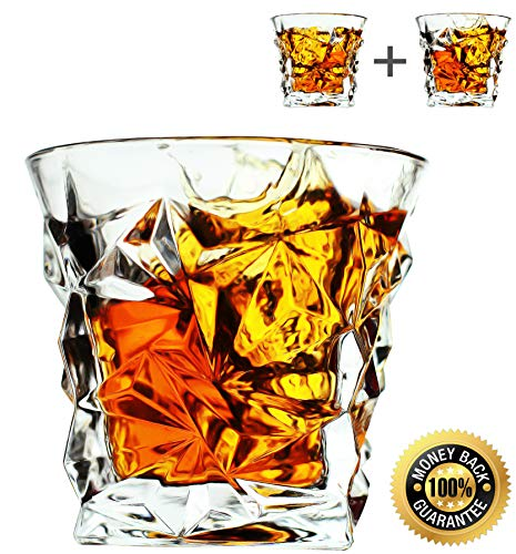 Luxury Whiskey Glasses - set of 2 - Old Fashioned Vintage Rocks for Bourbon Scotch Cocktail Drinks Tumbler Glassware Gifts for Men Dad and Husband Snifter
