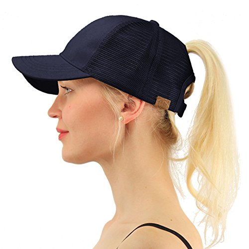 C.C Ponytail Messy Buns Trucker Ponycaps Plain Baseball Visor Cap Dad Hat Navy