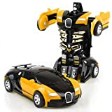 transformers car - HaloVa Toy Car, Robot Deformation Car Model Toy for Children, Kids and Toddlers,Crash to transform, Yellow