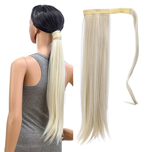 SWACC Women Long Straight/Curly Wavy Wrap Around Ponytail Extension Synthetic Hair Piece Clip in Hair extensions (Straight, Platinum Blonde-60#) -