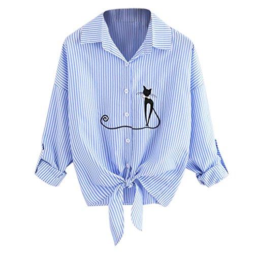 E-Scenery Women's Fashion Cat Embroidered Chiffon Shirts Knotted Hem Long Sleeve Blouse T-Shirt Tunic Tops (Blue, (Silk Front Pocket Tunic)