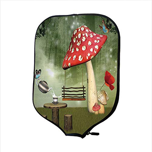 Neoprene Pickleball Paddle Racket Cover Case,Mushroom,Picnic in Fantasy Garden Wood Table Poppy Flower Swing Teapot and Milk Splash Decorative,Multicolor,Fit for Most Rackets - Protect Your Paddle