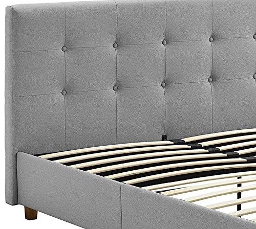 DHP Platform Bed Rose Linen Tufted Upholstered Platform