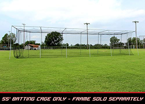 Portable Cage Backstop (Cimarron Sports 55' x 14' x 12' Twisted Knotted Twine Poly Batting Cage Net with 4 x 6 Vinyl Backstop)