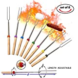 Marshmallow Roasting Sticks Set of 8-32Inch,Extending Stainless Steel Marshmallow Fork,SAFE FOR KIDS,Telescoping Hot Dog BBQ Sturdy Smores Skewers,Easy to Storage/Carry