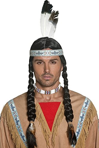 Smiffy's Women's Native Indian Wig, Black with Braids and Feather Headband, One Size, 42042