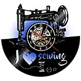 LED Sewing Vinyl Wall Clock Night Light Night Lamp I Love Sewing Led Vinyl Clock Wall Light Backlight Color Changing Remote Controller Vintage Handmade Home Decor Art Decorative Wall Clock
