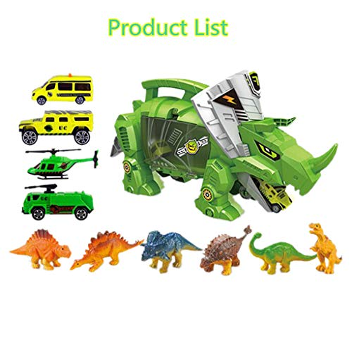 Transport Car Carrier -Dinosaur Catapult Mechanical Toy Car Storage Carrier Dinosaurs & Cars Includes Mini Dinosaurs & car Toys (A, Mechanical Dinosaur Toys) ()