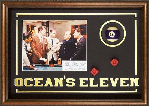 Ocean's Eleven Rat Pack. Billiard Room Movie Memorabilia. Photo, Ball, Chalk. Professionally Framed in the Custom Made Shadow Box Real Wood Frame (21.25 x 15.25) (Rat Pack Artwork)