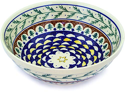 - Polish Pottery 9¼-inch Bowl (Pine Boughs Theme) + Certificate of Authenticity