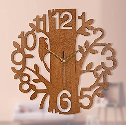 Creative 3D Wooden Tree and Bird Clock Large Size Wall Clock Modern European Clock Needle Clock