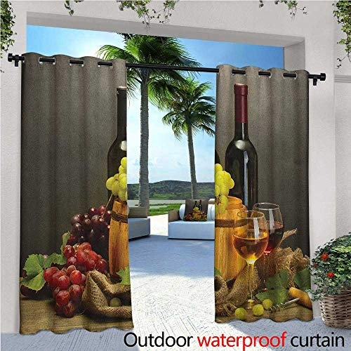 familytaste Winery Outdoor Blackout Curtains Barrel Bottles and Glasses of Wine and Ripe Grapes on Wooden Table Picture Print Outdoor Privacy Porch Curtains W84 x L108 Multicolor ()