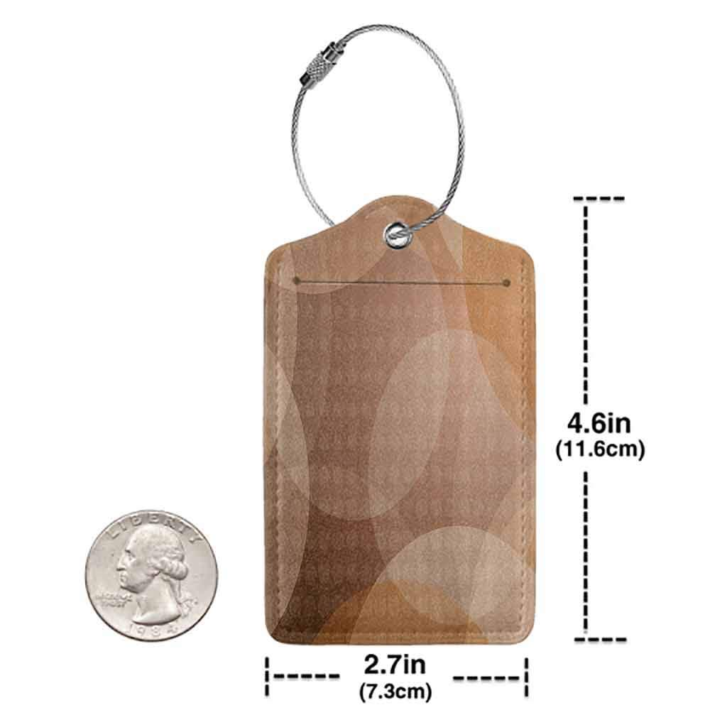 Flexible luggage tag Tan Overlapping Circles with Big and Small Polka Dots Pattern Gradient Modern Display Fashion match Tan Brown White W2.7 x L4.6