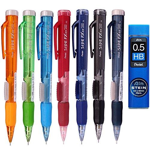 Pentel Side FX Mechanical Pencil, 0.5mm 7 Color Barrel +Refill Lead (7 Pack + Lead)