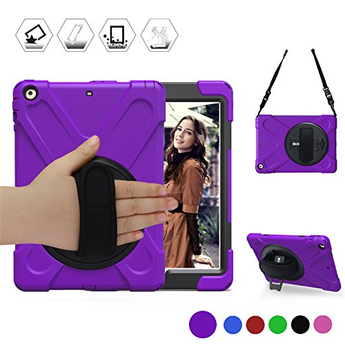 BRAECN iPad 9.7 2018 Case, New iPad 9.7 lnch 2017 Rugged Case With Hybrid Heavy Duty Protection and Built-In KickStand/a hand Grip strap for Apple iPad 9.7 inch (2017/2018 MARCH Released) Purple